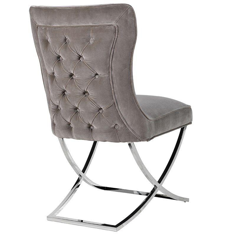 Mandeville Mouse Grey Button Back Dining Chair Inside Current Button Back Dining Chairs (Image 16 of 20)