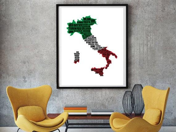 Map Of Italy Italy Map Italian Cities Typography Map Wall Intended For Italian Cities Wall Art (Image 14 of 20)