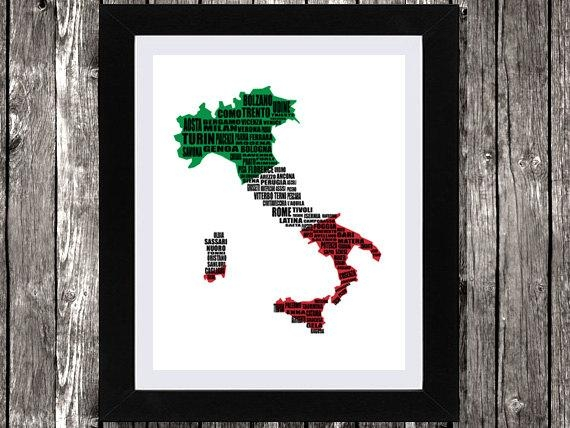 Map Of Italy Italy Map Italian Cities Typography Map Wall Throughout Italian Cities Wall Art (Image 15 of 20)