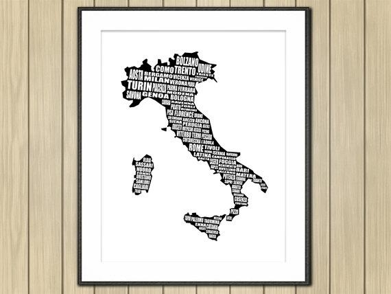 Map Of Italy Mapa Di Italia Italian Cities Italy Map In Italian Cities Wall Art (Image 17 of 20)