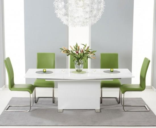 Marila 150Cm White High Gloss Extending Dining Table With 6 Malibu Throughout Latest White Gloss Extending Dining Tables (Image 11 of 20)
