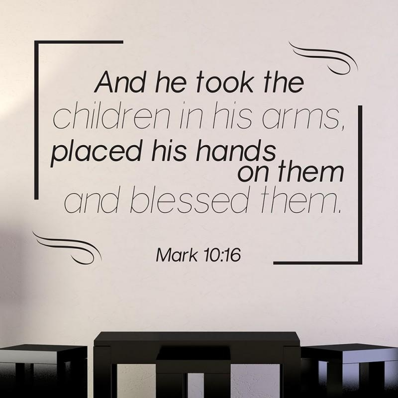 Mark 10:16 Scripture Vinyl Wall Art | Divine Walls Inside Scripture Vinyl Wall Art (View 9 of 20)