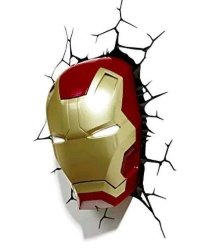 Marvel Avengers Assemble Iron Man Mask / Helmet 3D Deco Wall Led With The Avengers 3D Wall Art Nightlight (View 15 of 20)