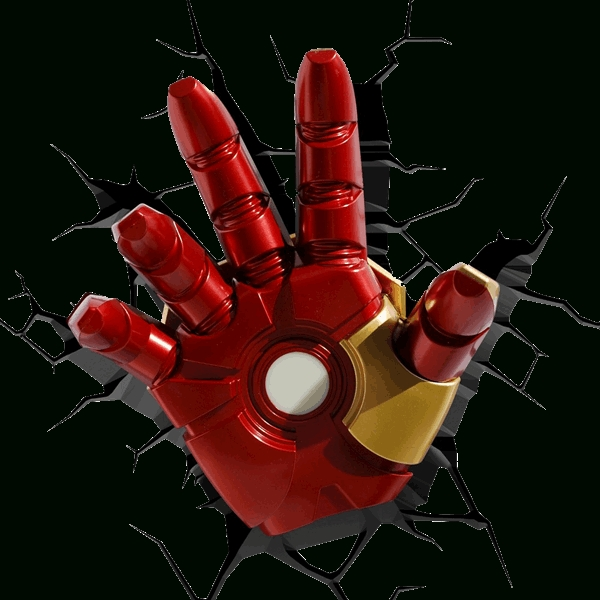 Marvel – The Avengers – 3D Iron Man Hand Led Night Light – Zing In The Avengers 3D Wall Art Nightlight (View 20 of 20)