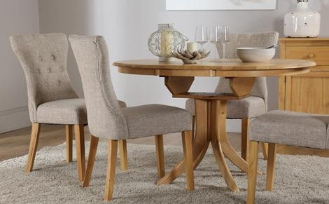 Marvellous Round Extending Oak Dining Table And Chairs 20 With Pertaining To 2018 Dining Tables And Chairs (Image 18 of 20)