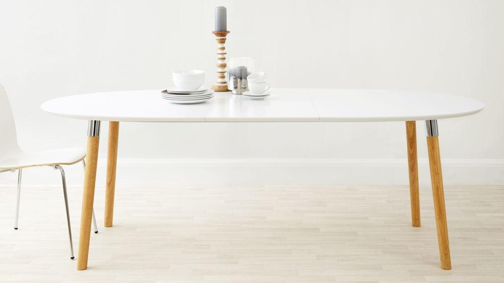 Matt White Extending Dining Table | Oak & Chrome Legs | Uk In Most Recent White Oval Extending Dining Tables (Image 15 of 20)