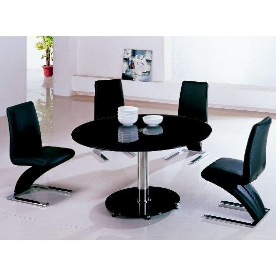 Maxi Round Black Glass Dining Table And 6 Z Chairs 4738 Inside Most Current Round Black Glass Dining Tables And Chairs (Image 17 of 20)