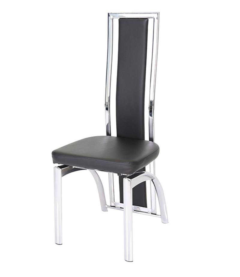 Mayfair Chrome & Black Faux Leather Dining Chair – Godotti Inside 2018 High Back Dining Chairs (Image 14 of 20)