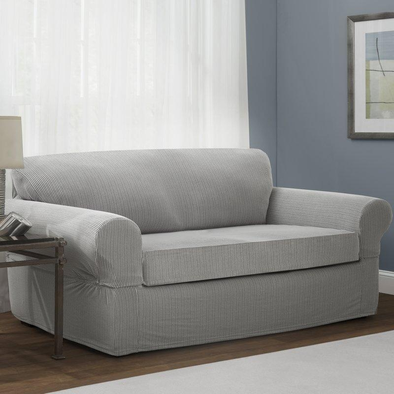 Maytex Connor Box Cushion Sofa Slipcover & Reviews | Wayfair Within Rowe Slipcovers (View 15 of 20)