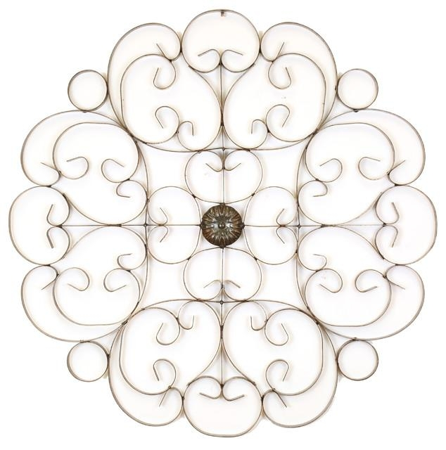 Medallion Iron Wall Scroll – Rustic – Outdoor Wall Art – Intended For Iron Scroll Wall Art (View 10 of 20)