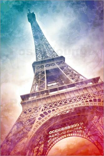 Melanie Viola Modern Art Eiffel Tower 21 Poster | Posterlounge In Eiffel Tower Wall Art (Image 14 of 20)
