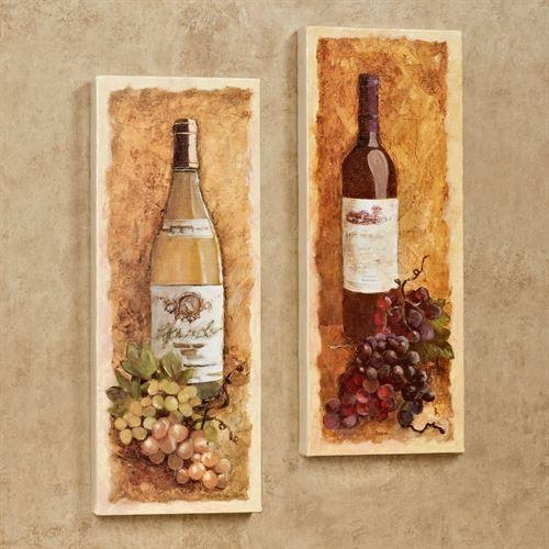 Merlot And Chardonnay Wine Canvas Wall Art Set With Wine And Grape Wall Art (View 9 of 20)
