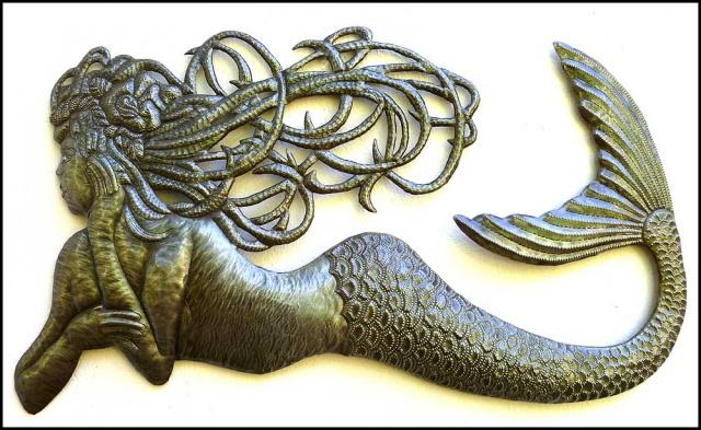 Mermaid Metal Wall Hanging – Haitian Metal Art – Recycle Steel For Metal Art For Wall Hangings (View 16 of 20)