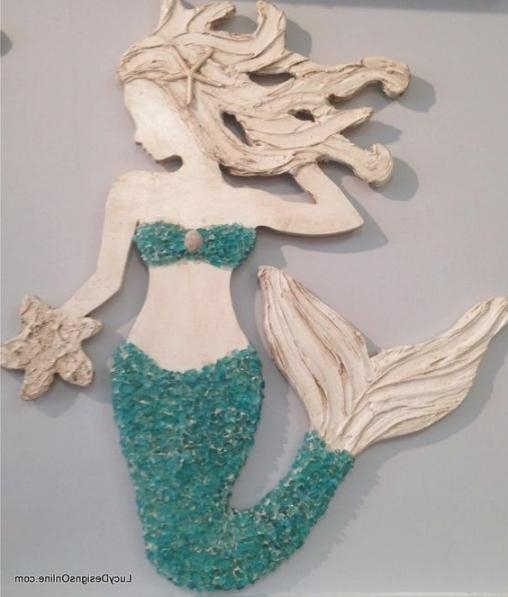 Mermaid Wall Art New Design, Wood Mermaid Vertical Style Beach Art With Regard To Wooden Mermaid Wall Art (Image 8 of 20)