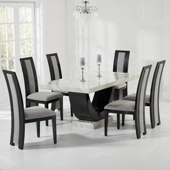 Mesmerizing Marble Dining Table And 6 Chairs 18 In Dining Room In Marble Dining Tables Sets (View 16 of 20)