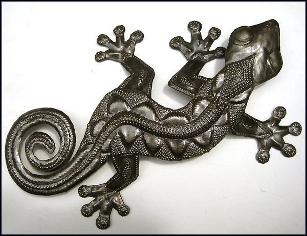 Metal Gecko Wall Art – Metal Wall Hangings – Haitian Steel Drum Art With Regard To Gecko Outdoor Wall Art (View 6 of 20)