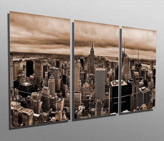 Metal Prints New York Skyline Sepia 3 Panel Split With Regard To Metal Wall Art New York City Skyline (Image 9 of 20)
