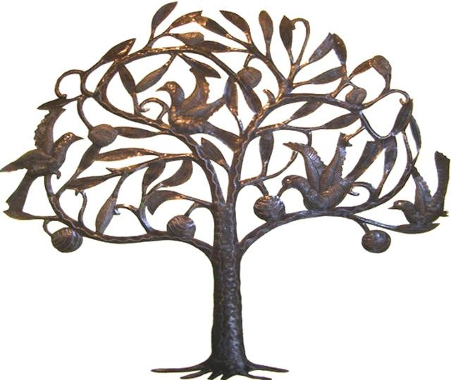 Metal Tree Of Life Wall Art – Haitian Steel Drum Art Wall Decor Regarding Iron Tree Wall Art (Image 13 of 20)