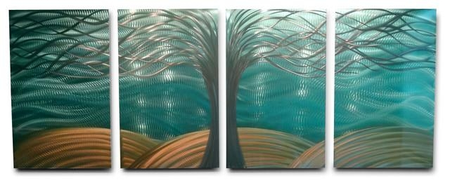 Metal Wall Art Decor Abstract Contemporary Modern  Tree Of Life Within Teal And Gold Wall Art (Image 16 of 20)