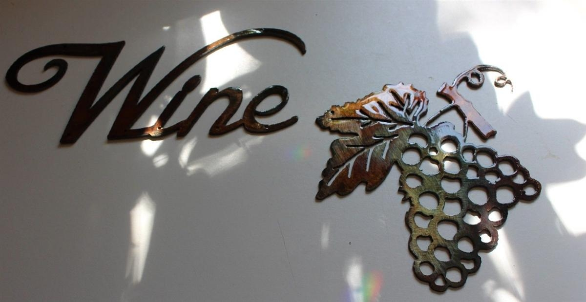 Metal Wall Art Decor Small Grape Bushel & Wine Sign Within Metal Grape Wall Art (View 12 of 20)