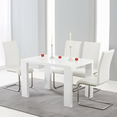 Metro High Gloss White 120Cm Dining Table With 4 Milan White With White Gloss Dining Tables 120Cm (Image 13 of 20)