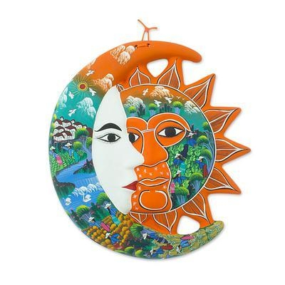 Mexican Artisan Crafted Sun And Moon Ceramic Wall Art – Village Intended For Mexican Ceramic Wall Art (Image 9 of 20)