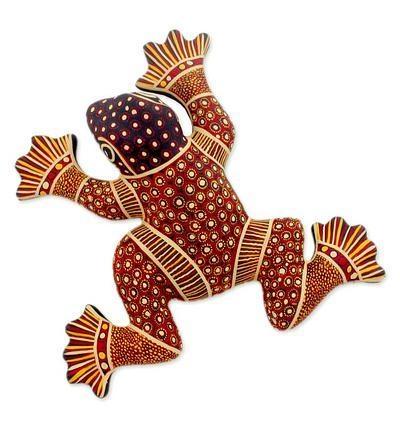 Mexican Ceramic Frog Wall Art – Batik Frog | Novica Pertaining To Mexican Ceramic Wall Art (Image 10 of 20)