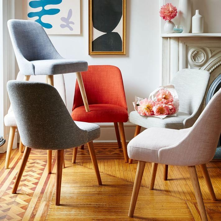 Mid Century Dining Chair | West Elm Intended For Most Current Fabric Dining Chairs (Image 14 of 20)