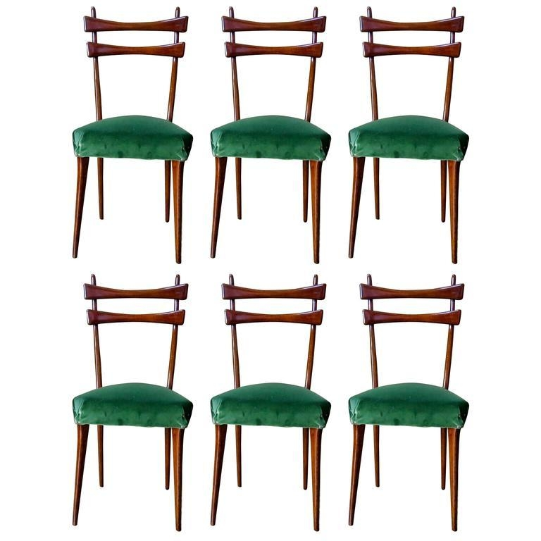 Mid Century Italian Dining Chairs Set Of Six In Velvet, 1950S For Inside Velvet Dining Chairs (Image 11 of 20)