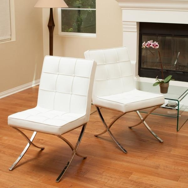 Milania White Leather Dining Chairs (Set Of 2)Christopher In White Leather Dining Chairs (Image 15 of 20)