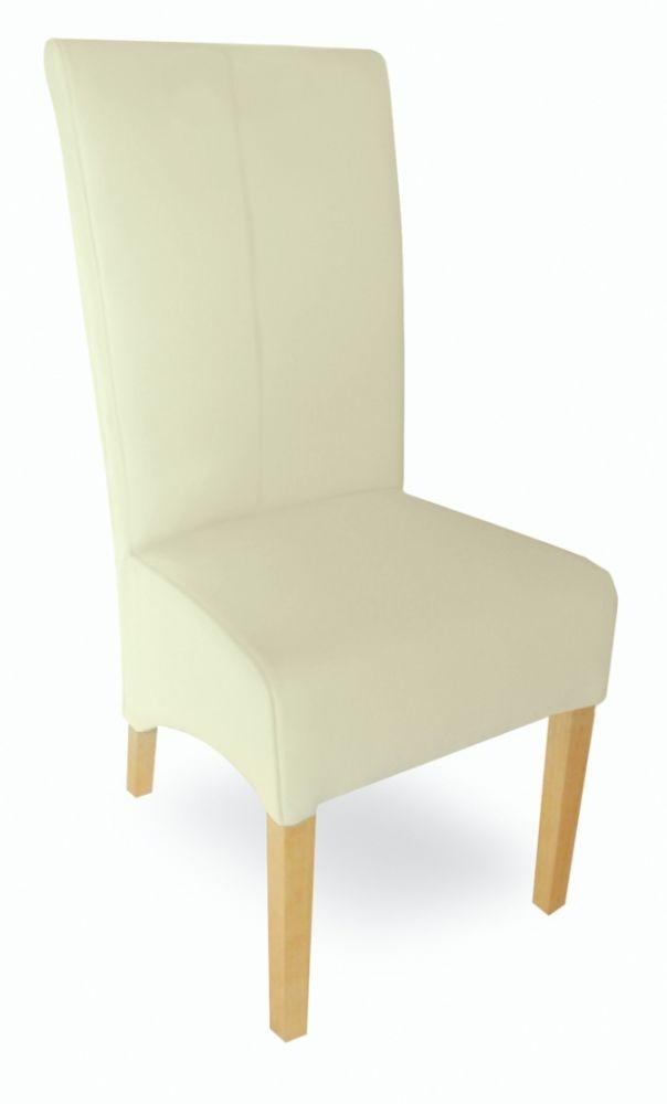 Milano Cream Leather Dining Chair With Cream Leather Dining Chairs (Image 16 of 20)