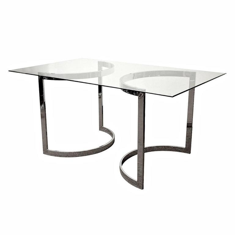 Milo Baughman Chrome And Glass Dining Table At 1Stdibs With Most Popular Chrome Glass Dining Tables (Image 7 of 20)