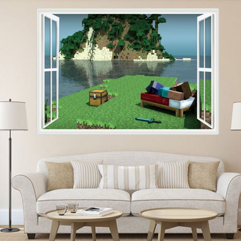 Minecraft Window Island View 70 50Cm Bedroom Wall Sticker In Minecraft Wall Art Uk (Image 7 of 20)
