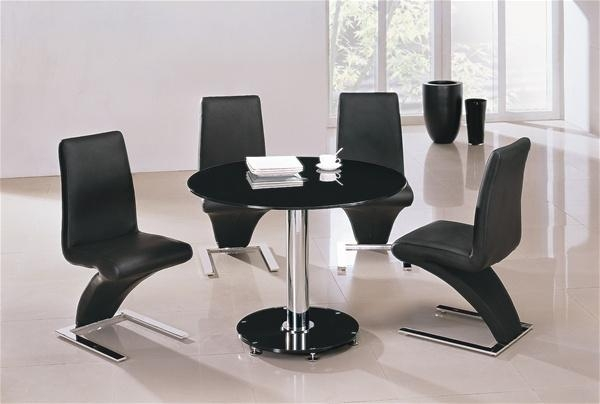 Mini Vo1 Round Glass Dining Table And Chairs | Furniture Italia Inside Most Up To Date Round Black Glass Dining Tables And 4 Chairs (Image 15 of 20)