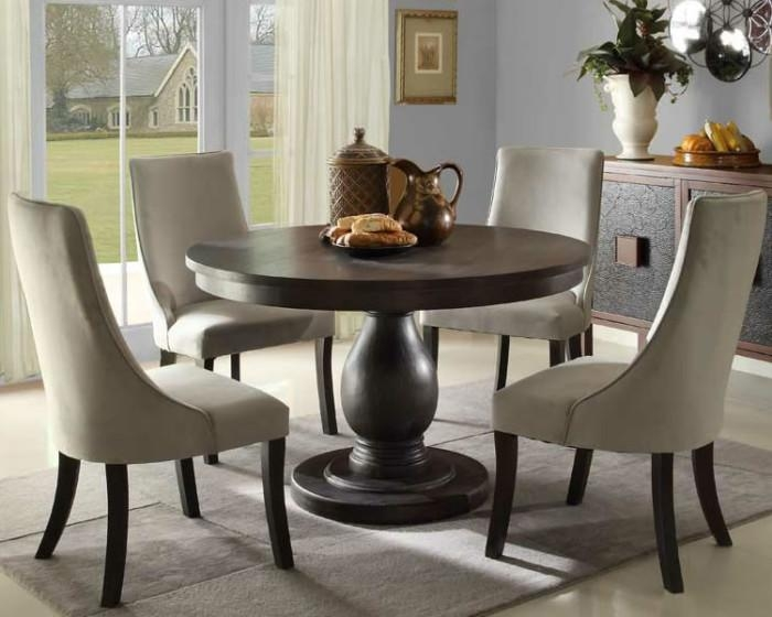 Minimalist Dining Room With Alsace 5 Pieces Euro Transitional Within Latest Circular Dining Tables For  (Image 6 of 20)