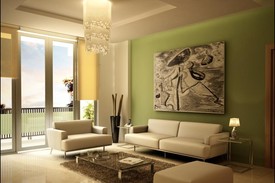 Minimalist Living Room Interior Decoration Using Green Walls Paint In Wall Art For Green Walls (Image 17 of 20)