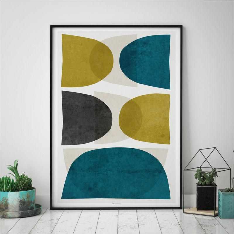Minimalist Wall Art – Abstract Art Prints – Fine Art Prints – Teal Within Teal And Gold Wall Art (Image 17 of 20)