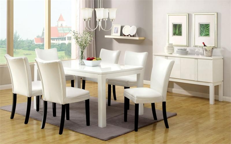 Minimalist White Dining Room Chairs With Distressed White Kitchen For Most Recent White Dining Tables Sets (Image 11 of 20)