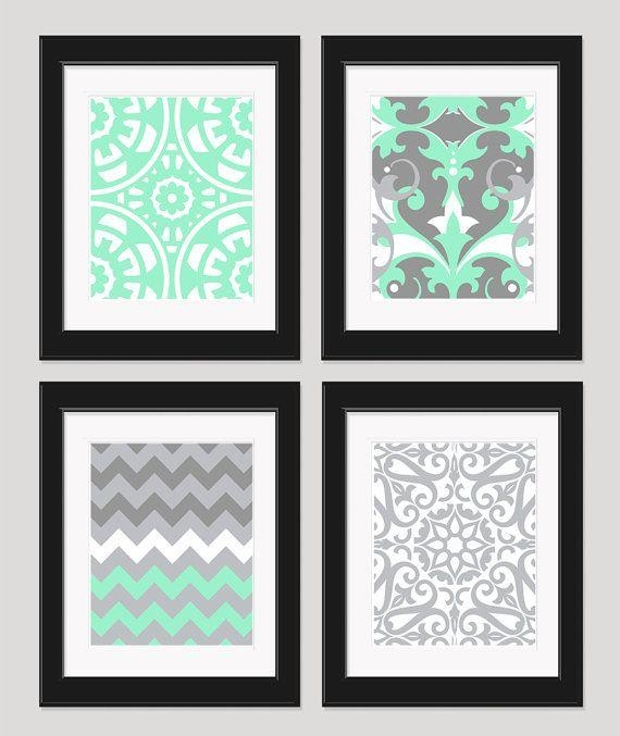 Mint Green Grey White Art Wall Art Bedroom Artinkandnectar Pertaining To Teal And Green Wall Art (View 17 of 20)