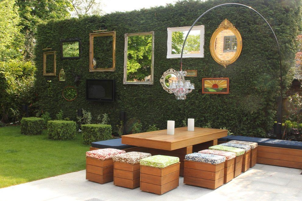 Mirror Frames Decorating Ideas Patio Shabby Chic Style With Wood Inside Outdoor Mirror Wall Art (View 19 of 20)