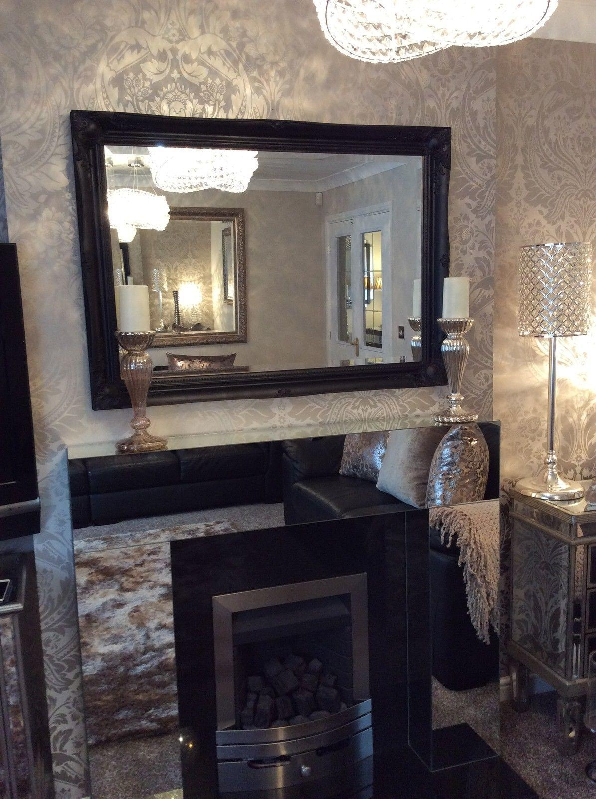 Mirrors: Amazing Large Black Framed Mirror Black Framed Large Wall For Black Wall Mirrors For Sale (View 3 of 20)