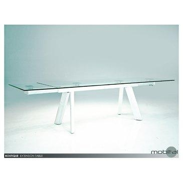 Mobital Boutique Extending Dining Table In Clear Tempered Glass Intended For Most Recent High Gloss White Extending Dining Tables (Image 13 of 20)