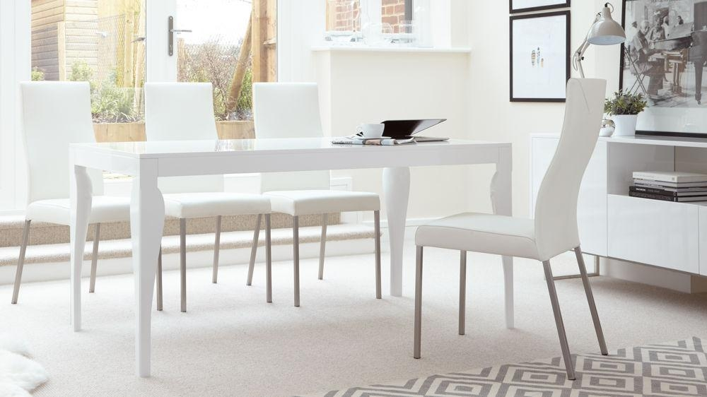 Modern 6 Seater Dining Table | White Gloss Finish | Uk With Regard To White Gloss Dining Chairs (View 5 of 20)
