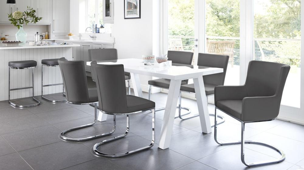 Modern 6 Seater White Gloss Dining Table Set| Uk Regarding Gloss Dining Sets (Image 16 of 20)