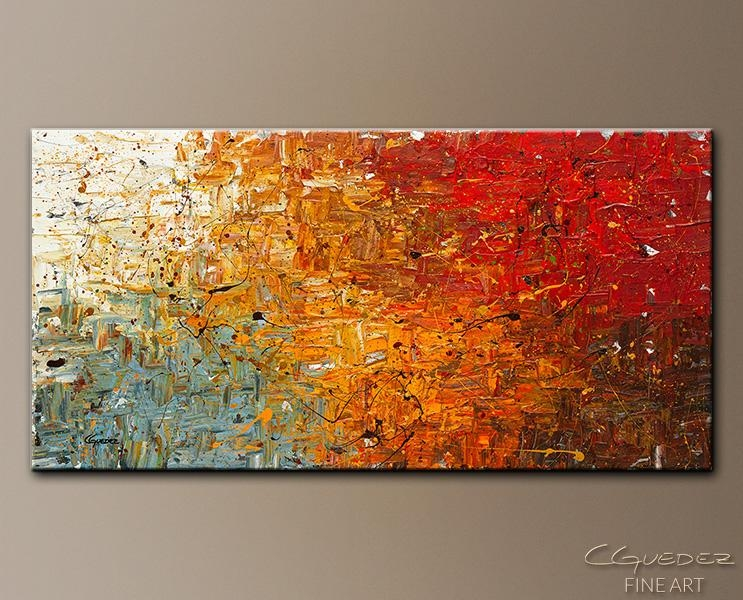 Modern Abstract Art For Sale Running Free – Contemporary Canvas With Orange And Blue Wall Art (Image 15 of 20)