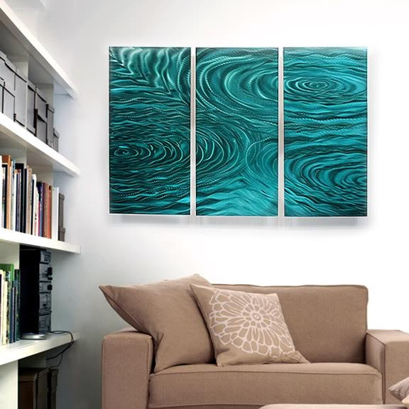 Modern Abstract Painting Metal Wall Art Sculpture Teal Liquid With Teal Metal Wall Art (Image 8 of 20)