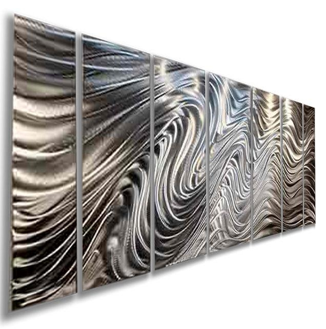 Modern Abstract Silver Corporate Metal Wall Art Sculpture Original Pertaining To Large Metal Wall Art Sculptures (Image 18 of 20)