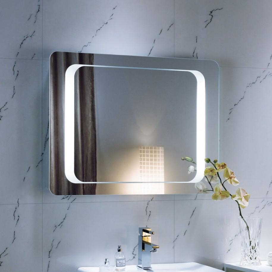 Modern Bathroom Mirror Idea With Elegant Design Over Marble Pertaining To Modern Mirrors For Bathrooms (Image 17 of 20)