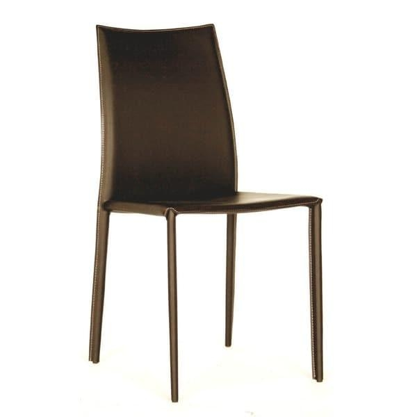 Modern Brown Faux Leather Dining Chair 2 Piece Setbaxton In Brown Leather Dining Chairs (View 3 of 20)