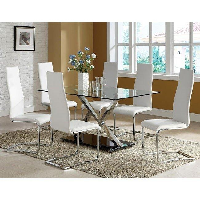 Modern Chrome Dining Room Set W/ White Chairs Coaster Furniture With Most Recent Chrome Dining Room Sets (View 4 of 20)